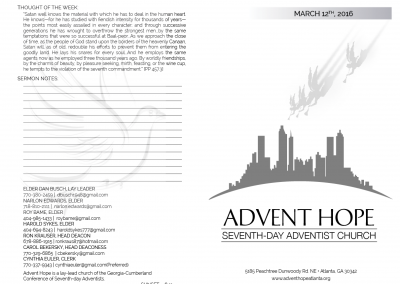 Advent Hope Bulletin