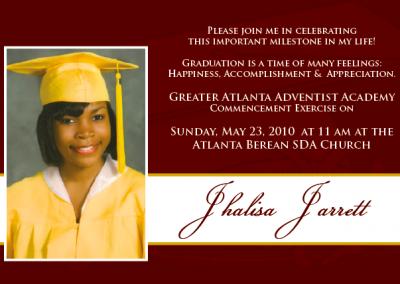 Jhalisa's Graduation Invitation 1