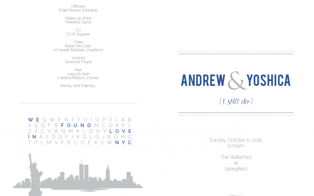 Andrew and Yoshica's Wedding Program 1