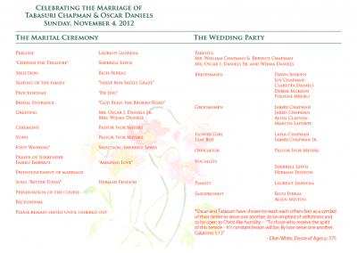 Tabasuri's Wedding Program 2